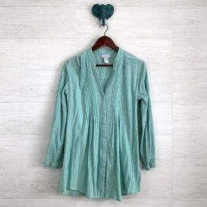 Soft Surroundings Mint Crinkle Gauzy Tunic *FLAW